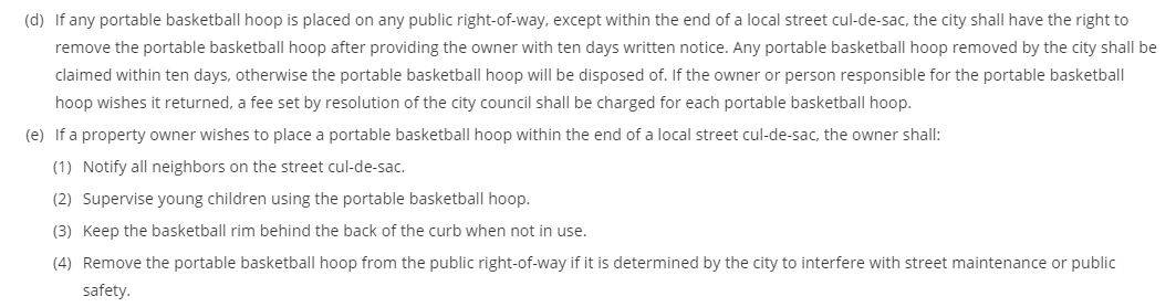 Are Basketball Hoops Allowed in the Street.